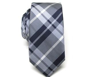 Mens Tie. Necktie Navy Blue Gray Plaid Mens Skinny Tie