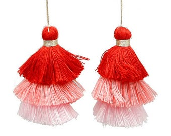 3 colors pink/red cotton tassel