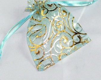 Packaging pouch organza pouch green turquoise and Gold 7 X 9 cm