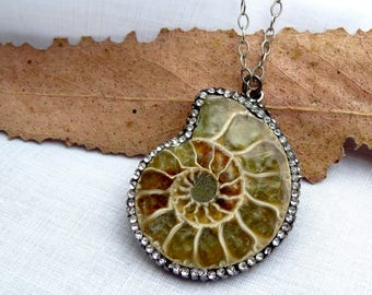 ammonite fossil necklace, pave rhinestone ammonite pendant, fossil shell pendant, pave pendant, fossil shell necklace