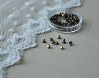 100sets+ 3mm Tiny Flat Rivet sets/ for Baby/Babydoll Clothes-antique brass