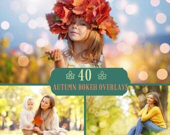 40 Autumn Bokeh Overlays, Photoshop Overlays, Bokeh Photo Overlays, Autumn digital backdrop, Bokeh Lights, Lights Overlay, Fall backdrop