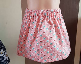 Baby girls skirt, 3-6 months, pink floral print skirt, elasticated waist, cotton fabric, one off makes