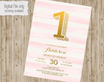 1st Birthday Invitation / First Birthday Invitation / 1st, 2nd, 3rd Girl's Birthday Invitation / Pink, White, Gold, watercolor