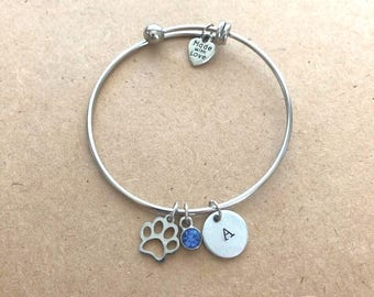 Silver Paw Bangle Bracelet with Colored Charm and Initial