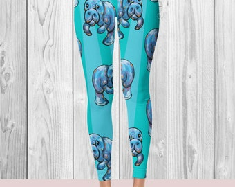 Designer Printed Leggings - Manatee - Workout Pants - Ocean Print