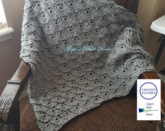 CROCHET PATTERN/Nana's Shawl/Crochet Shawl/Triangle Shawl/PDF Pattern