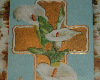 Gold Cross With Calla Lilies Antique Postcard