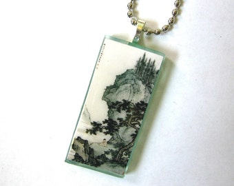 Mountains of China. Mini version of large painting. Glass Pendant  Necklace.