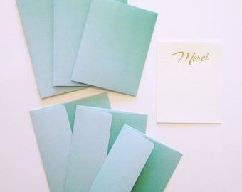 Envelopes - Ombre Seafoam Square Flap Envelopes - A2, A6 and A7 Sizes - Pack of 20 paper envelopes