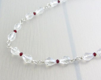 Clear Crystal Necklace with Siam Red Swarovski Crystal, Wire Wrapped Sterling Silver Crystal Necklace, Sales Clearance