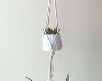 Macrame Succulent & Plant Hanger - 30 inches - Handmade Macrame Hanger - Natural Cord Color