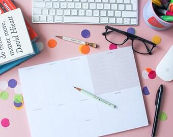Luxury Retro Weekly Desk Planner Pad | Weekly Planner | Planner notepad | Desk pad | To Do List