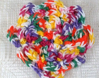 Crocheted Multicolored Flower in Gumdrop Cotton Yarn