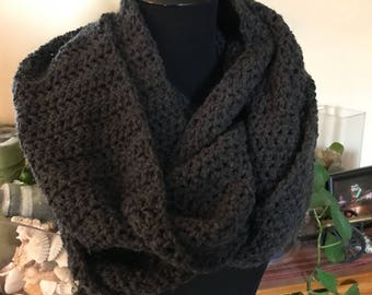 Hand Crochet Infinity Scarf - Dark Charcoal Grey