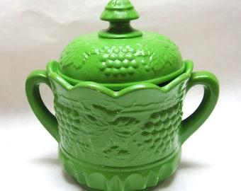 Green Lidded Jar Canister Grapevine Pattern