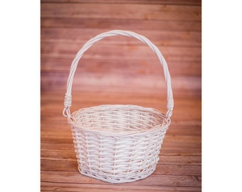 White Wicker Easter Basket with Folding Handles - Collipsible handle Easter basket - Basket Only