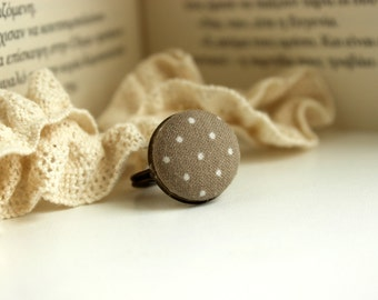 Beige Polka Dot Ring, Retro Button Ring, Fabric Button Ring, Antique Bronze Ring, Adjustable Ring, Romantic Beige Jewel, Shabby Chic Ring