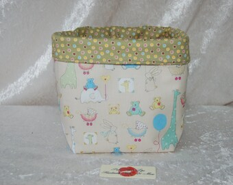Handmade Fabric Basket Storage Bin Tall Nursery Animals