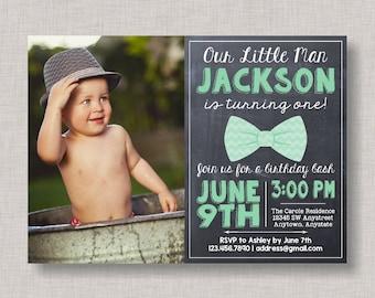 Little Man Birthday Invitation, Bow Tie Birthday Invitation, Little Man Birthday, Bow Tie Birthday, Bowtie Invitation, Chalkboard, Mint