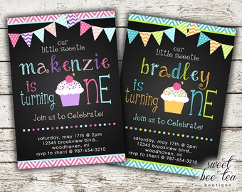 Baby Boy or Girl Birthday Invitation - Printable Invite - First 1st Birthday One - Cupcake - Bunting Flags