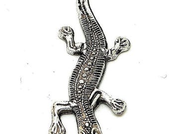 large lizard or salamander silver charm