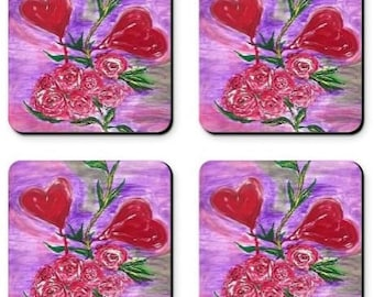 Item # 57 Two Hearts from a Rose Coasters ( 3.5 x 3.5)