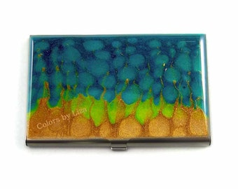 Business Card Case in Hand Painted Metal Turquoise Lime Green and Gold Metal Wallet Personalized and Custom Color Options