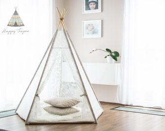 Romantic teepee - set of teepee and mat, handmade indian teepee, kids play, tent tipi