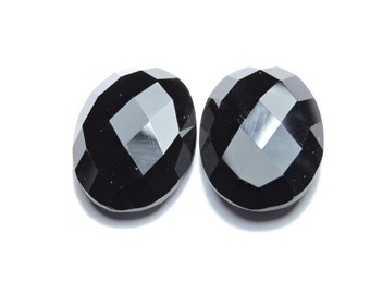 2 Pcs Very Beautiful Natural Black Onyx Faceted Oval Shaped Loose Gemstone Briolettes.Size 20X15 MM
