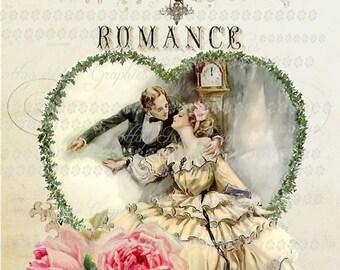 French Romance vintage Valentine Harrison Fisher Large digital download ECS buy 3 get one free Pink ROSES  single image