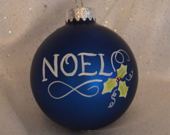 Blue Hand painted Christmas Ball