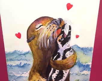 Seal and Penguin in Love Greeting Card, by Michelle Kogan, Limerick, Valentines Day, Valentine Card, Children's Art, Watercolor, Love, Blank