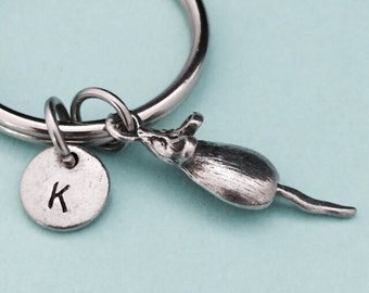 Mouse keychain, mouse charm, personalized keychain, initial keychain, initial charm, customized keychain, monogram