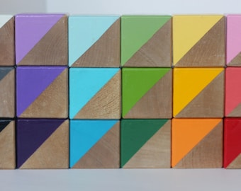 18 Hand Painted Wooden Blocks