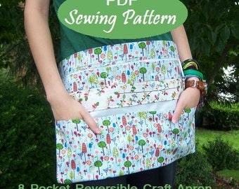 Instant Download: 8 Pocket Reversible Vendor Apron eBook Pattern Tutorial-Great for Craft Shows, Markets, Yard Sale