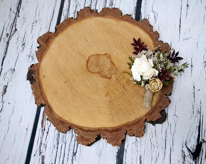 Ivory brown burgundy gold rustic wedding Rustic woodland BOUTONNIERE groom, Sola Flower, dried limonium, cypress, pine cones, burlap