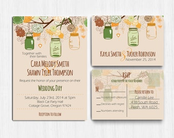 Autumn Wedding Invitation, Mason jars, Autumn Colors, wedding invite, Printed Wedding Invitation, rustic wedding, green brown wedding invite