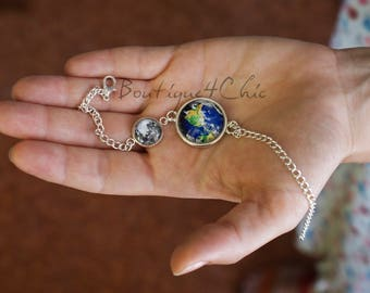 Moon and earth bracelet, planet earth, moon, solar system