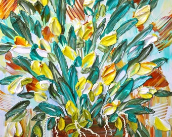 FLORAL IMPASTO PAINTING , Tulip Bliss , Yes Tulips make me Happy! Home decor, Handmade 24x34