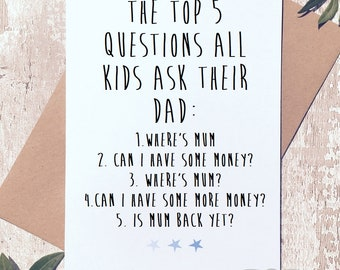 Funny fathers day card, father's day card, funny card from him, funny card for dad,