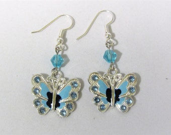 Blue and Silver Butterfly Earrings