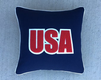 USA America Wool Letterman Pillow