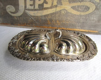 Vintage Lipman Brothers Old English Reproduction Shell Shaped Silverplate Small Double Serving Dish