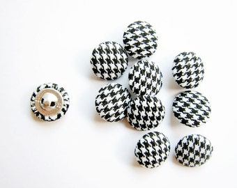 Sewing Buttons / Fabric Buttons - 10 Small Fabric Covered Buttons - Houndstooth - Fabric Pressed Buttons