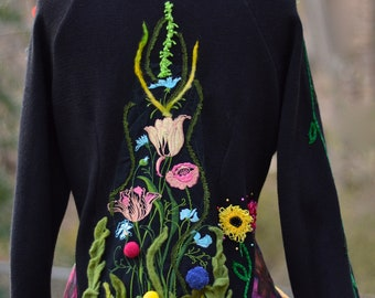 Floral sweater COAT, refashioned OOAK clothing, fantasy art to wear with BIRD, festival Gypsy romantic Coat, size L. Ready to ship