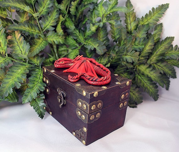 Red Clay Dragon: Polymer Clay Red Dragon Chest Dragon Chest Red Dragon