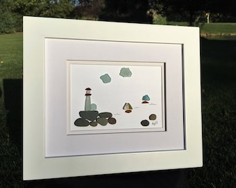 Authentic Sea Glass Lighthouse atop a Rocky Coast