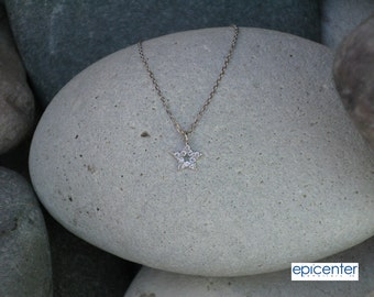 25% off 9kt Solid White Gold Star Necklace with Chain,Tiny Star Charm Necklace,Bridesmaid Gift Necklace,Girl Gift