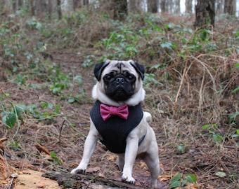 Charcoal Dog Harness, Pink Bow Tie, Wedding Dog, Handmade Harness, Wool Harness, Pug Harness, Valentines Harness